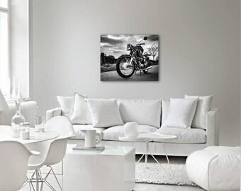 BMW motorcycle // Black & White canvas // Ready to hang canvas // Canvas art // Canvas print // Home decor // Wall decor