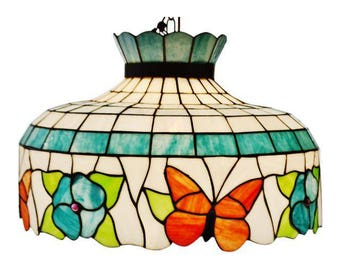 Vintage Tiffany Style Stained Glass Chandelier Pendant Light