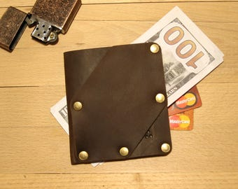 """Small leather wallet, Leather wallet, Compact purse, Leather purse, Wallet for cash, Mans wallet, Minimalistic wallet Doshch""""BeCool""""#bc53"""