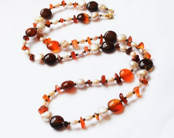 Orange Carnelian and Pearl Necklace