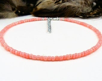 Coral Choker, Seed Bead Chokers, Beaded Choker, Choker Necklace, Seed Bead Necklace, Pink Choker, Boho Chic Choker, Beach Choker, Chokers