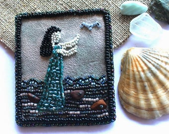 Sea brooch Bead embroidered brooch Sea gift for her Beaded jewelry Brooch handmade Women jewelry Sea jewelry Brooch for her Women brooch