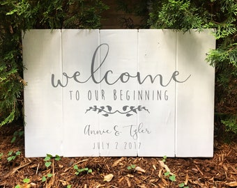 Rustic Welcome To Our Beginning with Names and Wedding Date | Grey on White