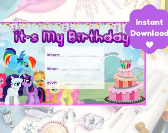 My Little Pony Birthday Invitation, Print and Personalise At Home, Instant Download, Invite NOT Editable on Adobe Reader