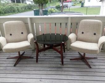 Vintage scandinavian mid century wool and teak cosy armchairs