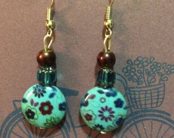 Handcrafted Floral Bead Earrings