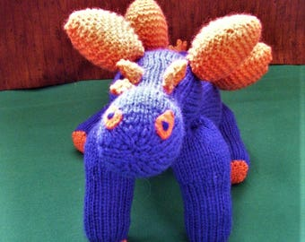 1-2-3-4 here comes a dinosaur - beautiful hand knitted Stegasaurus