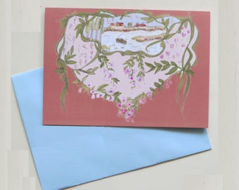 Summer poetry greeting card with light blue envelope