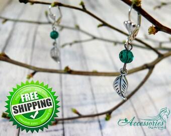 Green Leaves Leaf earrings Nature earrings  Boho earrings Crystal earring Floral jewelry Botanic earrings Gift Ideas Yoga gift Nature gift