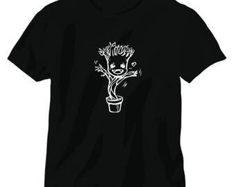 Baby groot potted tee shirt guardians of the galaxy