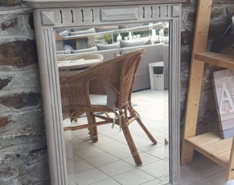 Mirror, fireplace or weathered Pier taupe and white