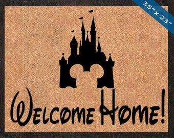 Welcome Home! Disney Castle! Custom Disney DoorMats, Great for a Wedding, Anniversary, Birthdays, Housewarming, or Graduation Present!