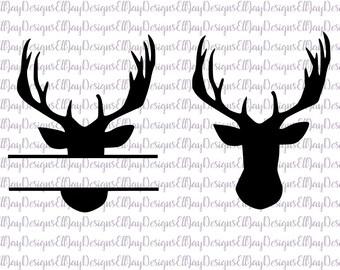 Hunting svg bundle, buck svg, deer head svg, deer head monogram frame svg, deer cut files, hunting cut files, silhouette cut files, cricut