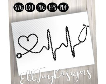 Nurse svg, heartbeat svg, stethoscope svg, silhouette cut files, cricut cut files, health care svg, doctor svg, heart stethoscope, tshirt