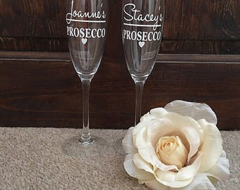 Flute glass, Personalised, Bridesmaids, Wedding, Gifts.
