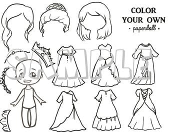 DIGITAL FILE Color Your Own Princess Paper Doll