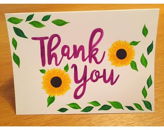 "5""x7"" Hand Painted 'Thank You' Greetings Card & Envelope"