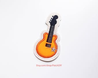 Patch electric GUITAR orange logo music custom rock usa Iron On Embroidered Applique bass star vinyl silver strings concert musician metal