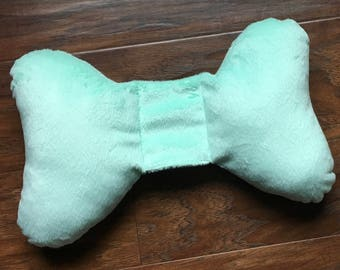 Minky head support, Seafoam Green, Positional Plagiocephaly, Carseat or stroller pillow, torticollis neck support, Baby Branch Boutique