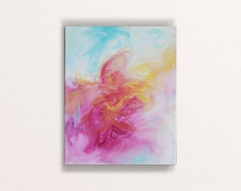 Lust for life - original art, small abstract painting, contemporary artwork, colourful painting