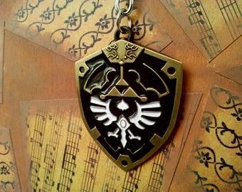 Legend of Zelda Hylian Shield Keychain Necklace Gamer Gift