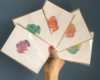 5 Birthday cards- hand painted