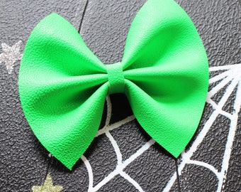 Baby Girl | Newborn | Toddler | Girls  Neon Green Faux Leather Bow | Bow Tie