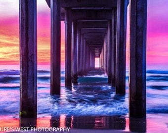 Sunset, Scripps Pier, La Jolla, California, Landscape Photography, Nature Photography, Fine Art Photography, Wall Art, Home Decor, Gift
