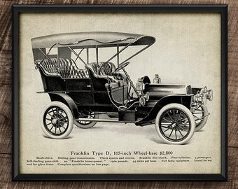 Franklin Car · 1900s · Vintage · Printable · Transport · Instant Download #182