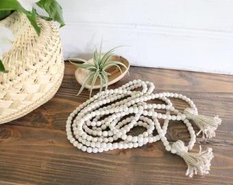6' Double Strand Wood Bead Garland / Bead Garland / Farmhouse Garland / Farmhouse Beads / Wood Beads / Tassel Garland