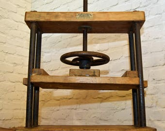 Early 20th Dryad century book press mechanism machine wooden cast iron decor interior design ends