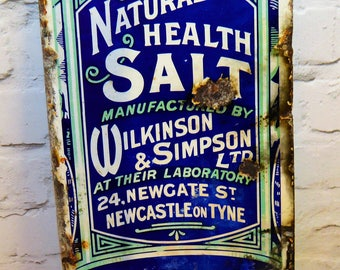 Wilkinson & Simpson salt enamel sign early advertising mancave garage metal vintage retro kitchen antique