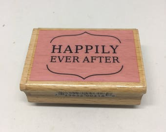 Rubber Stamp / Happily Ever After Stamp / Scrapbooking / Card Making Supplies / Wood Mounted Stamp / Stampin Up!