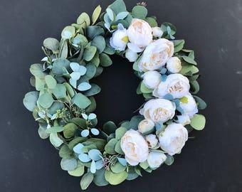 Ivory Peony Wreath