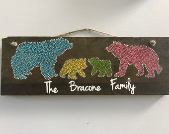 Customized Bear family dot painting