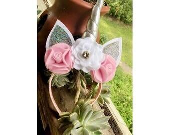 Unicorn Headband! Silver and pink!