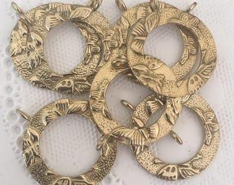 8 Gold Circle Pendant Eyeglass Chain Holder Connector, Eyeglass Findings, Eyeglass components for Eyeglass Holders, 24mm