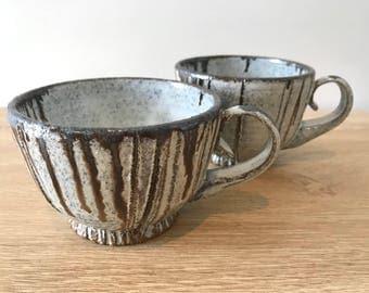 Set of 2   Wheel thrown ceramic stoneware poppy seed mug   FREE SHIPPING