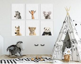 Animal prints for nursery, Horse Panda Safari Animal prints, Nursery animal print, Baby animal prints, Animal nursery prints
