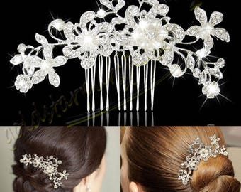 New Bridal Wedding Flower Crystal Rhinestones Diamante Pearls Hair Clip Comb UK engagement function wear diamond for her special day women