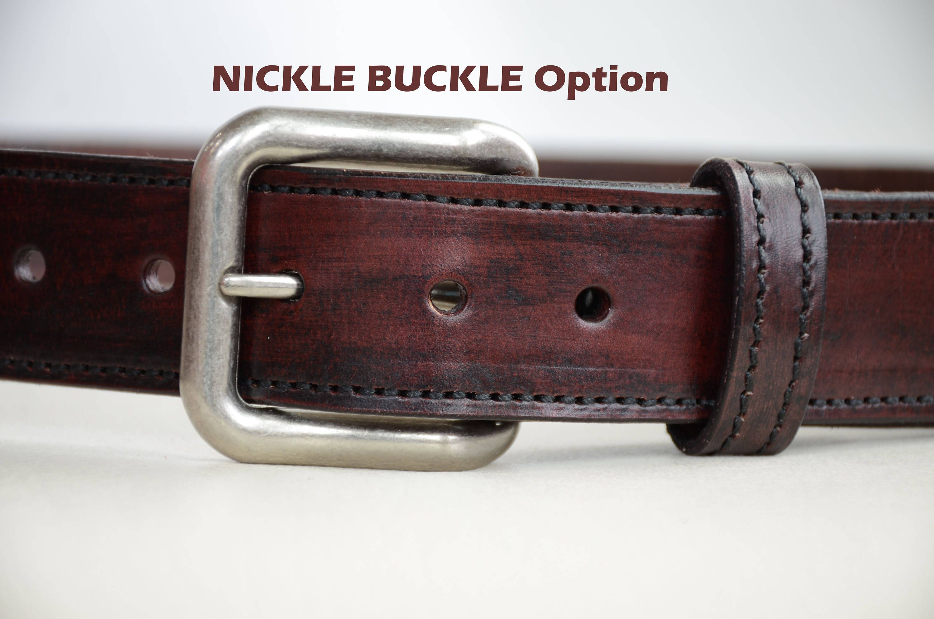 mahogany leather belt for personalized with embossed