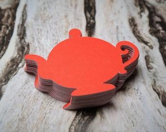 Teapot Die Cuts Red Set of 50