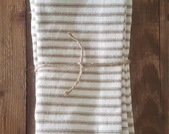 Cotton Napkins french ticking stripe brown.