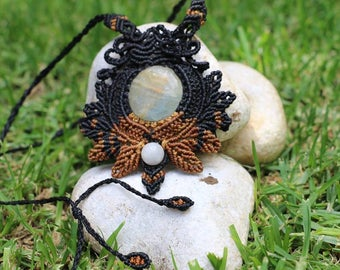 Pendant in macrame with stone Onice Sky