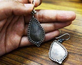 LEAF shape EARRING 925 silver oxidised