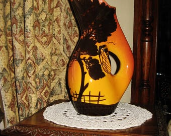 A Beautiful Vintage French Majolica Cicada / Cigale  Pitcher
