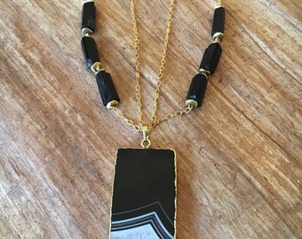 Grounded Essence gemstone necklace with black Tourmaline and electroplated Agate slice