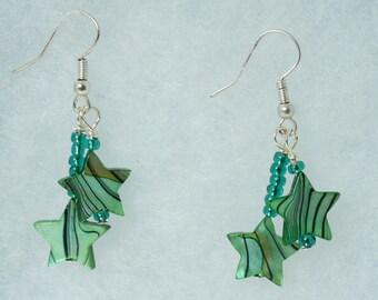 Star earrings, Green earrings, Bead earrings, cute gift earrings, handmade jewelry
