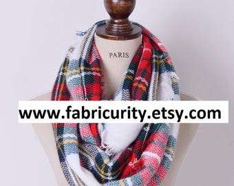 Red White Blanket Infinity Scarf, Infinity Blanket Scarf, Plaid Blanket Scarf, Scarves for Her, Scarves for Women