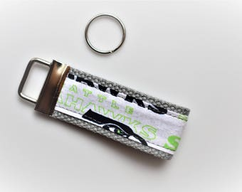 3in Custom Gray Seahawks Key Fob - Lanyard